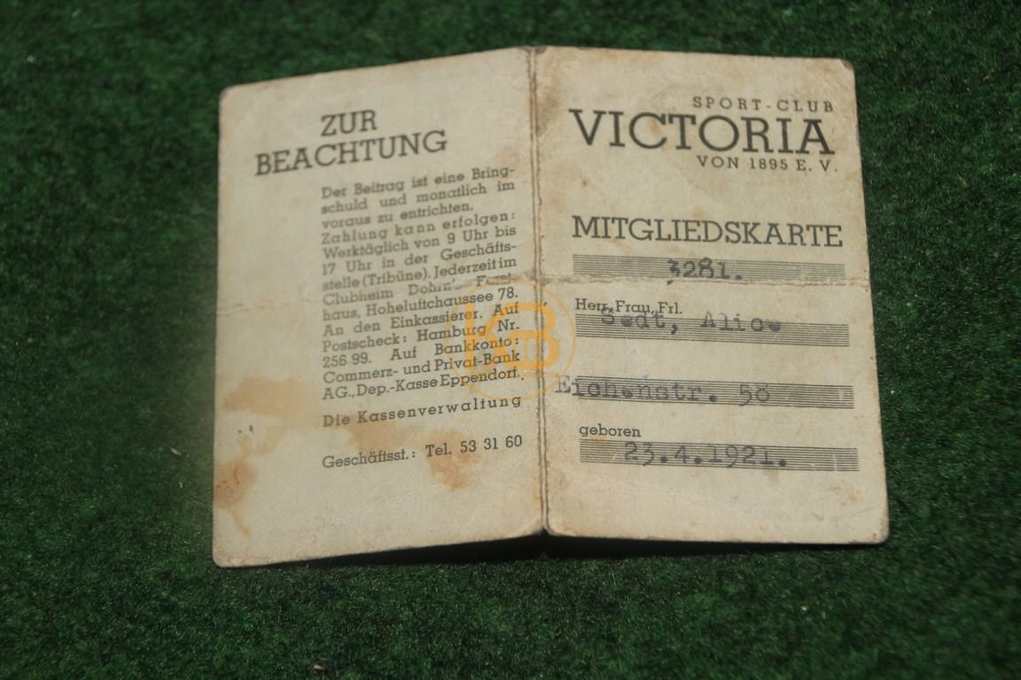 Mitgliedskarte Victoria Hamburg aus dem Jahr 1933.