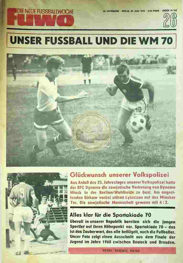 1970 Juni 30. Die neue Fussballwoche fuwo Nr. 26
