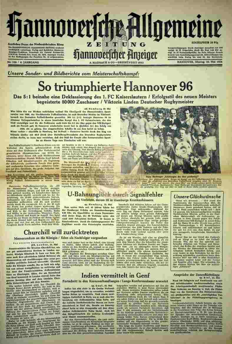 1954 Mai 24. Hannoversche Algemeine Zeitung Nr. 119
