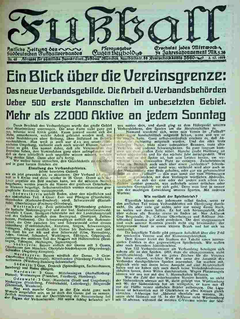 1919 Dezember 3. Fußball Nr.48