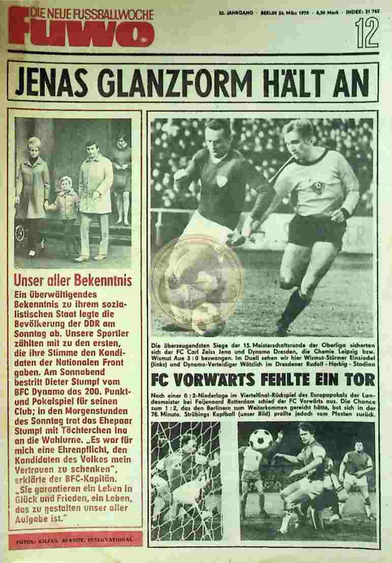 1970 März 24. Die neue Fussballwoche fuwo Nr. 12