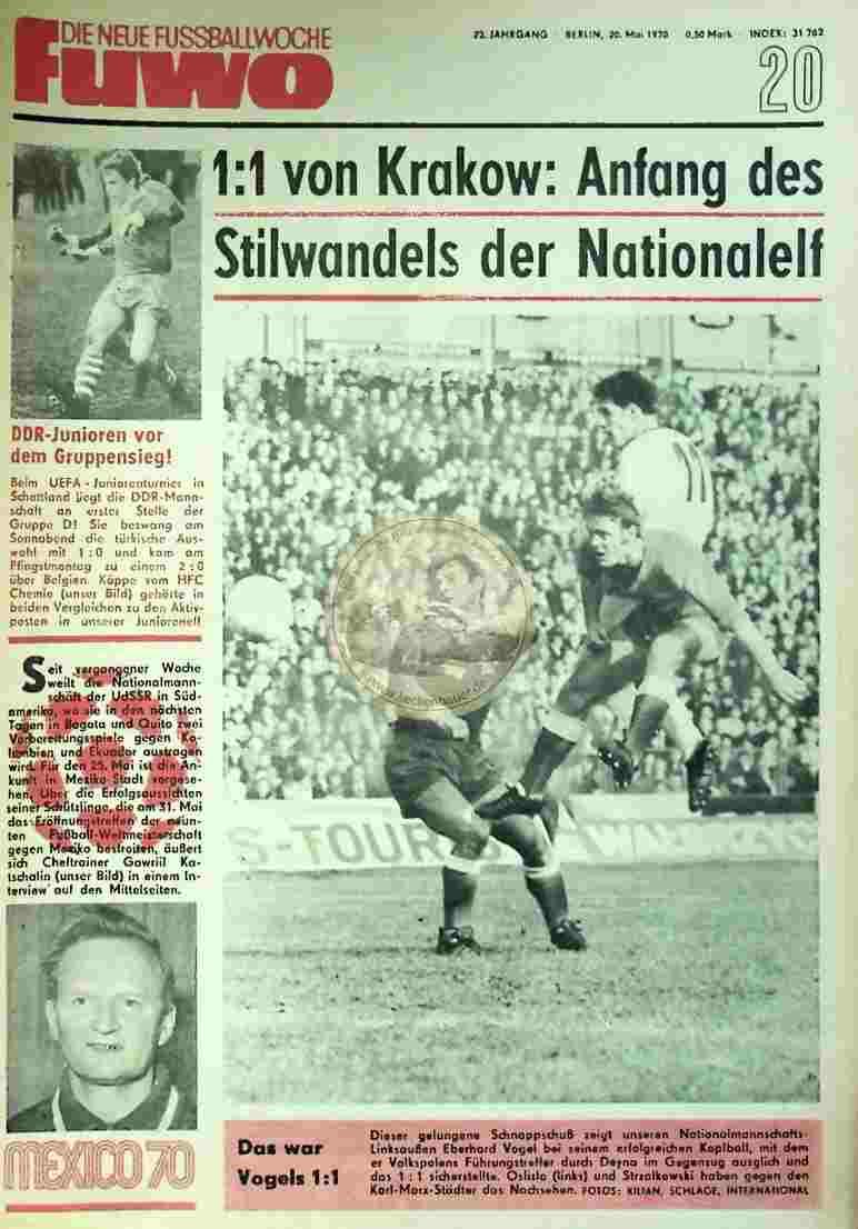 1970 Mai 20. Die neue Fussballwoche fuwo Nr. 20