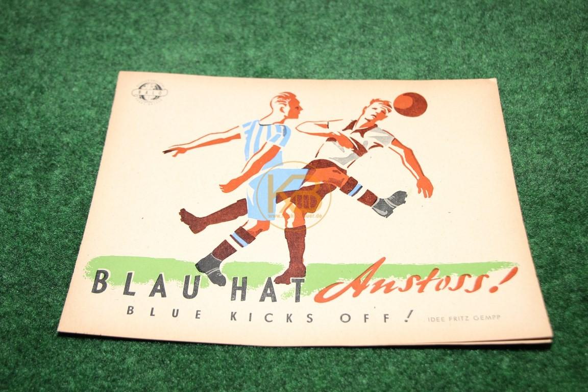 """Würfelspiel zum Ausschneiden """"Blau hat Anstoss"""" ca. aus den 1950ern."""