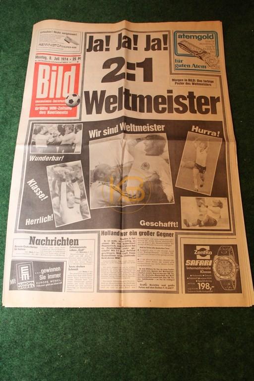 Bild-Zeitung am Tag nach dem Gewinn der Weltmeisterschaft 1974.