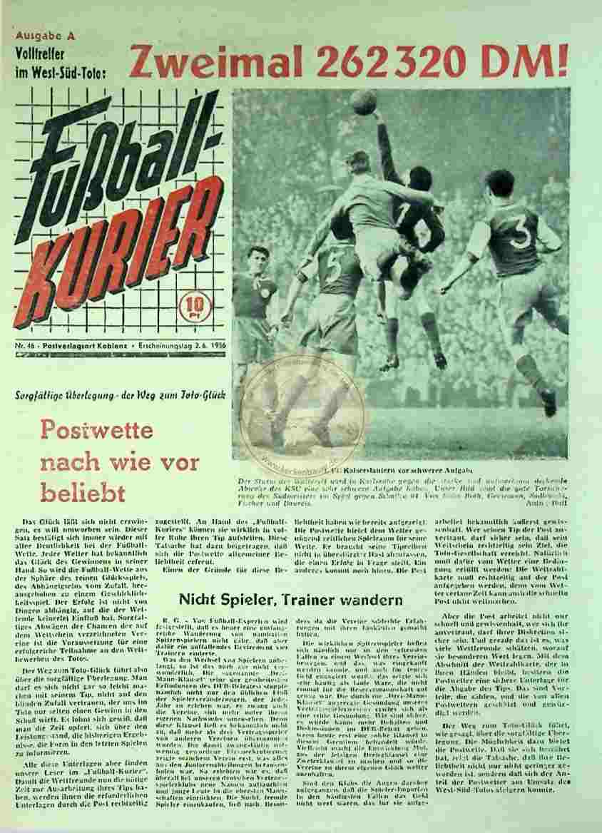 1956 Juni 2. Fußballkurier Nr. 46