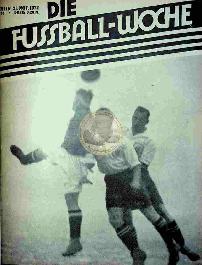 1927 November 21. Fussball-Woche Nr. 93