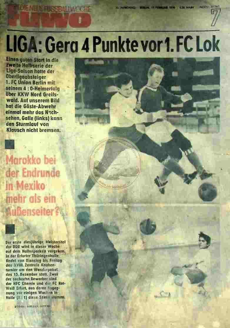 1970 Februar 17. Die neue Fussballwoche fuwo Nr. 7