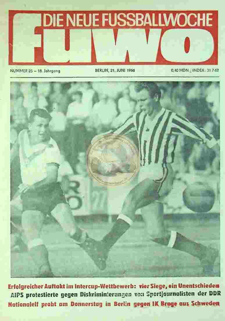 1966 Juni 22. Die neue Fussballwoche fuwo Nr. 25