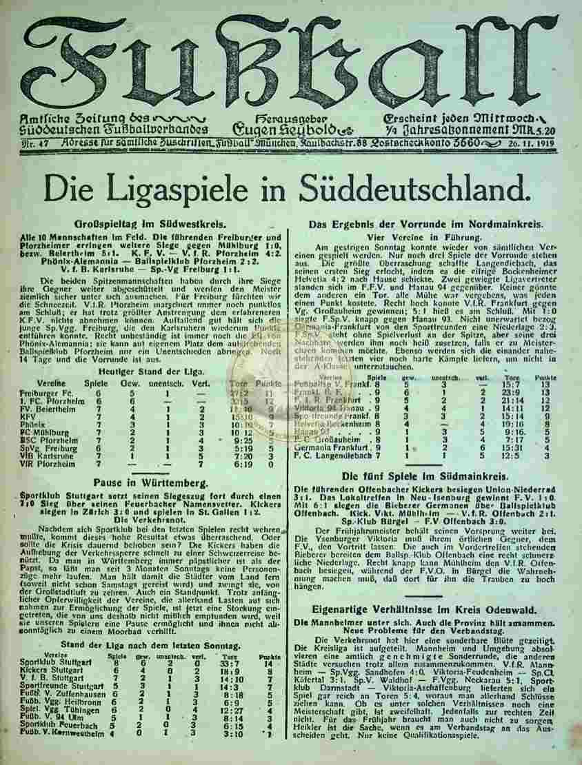 1919 November 26. Fußball Nr.47