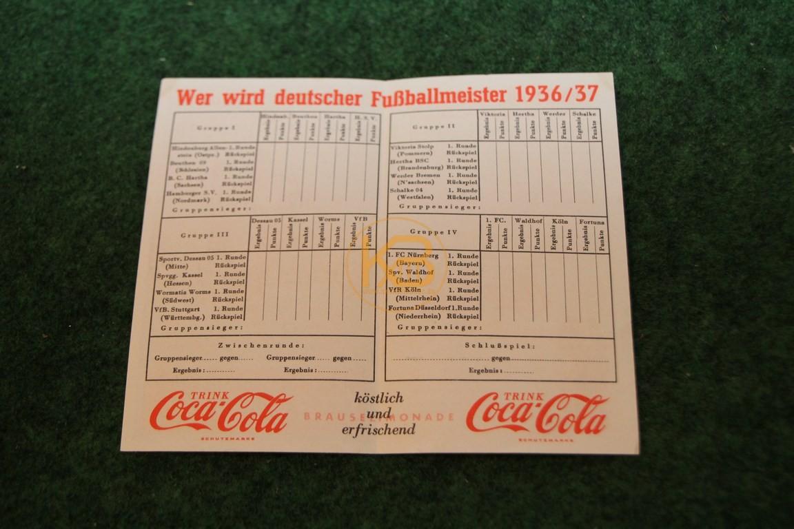 Werbespielplan zur Meisterschaftsendrunde 1937 von Coaa Cola. 2/2