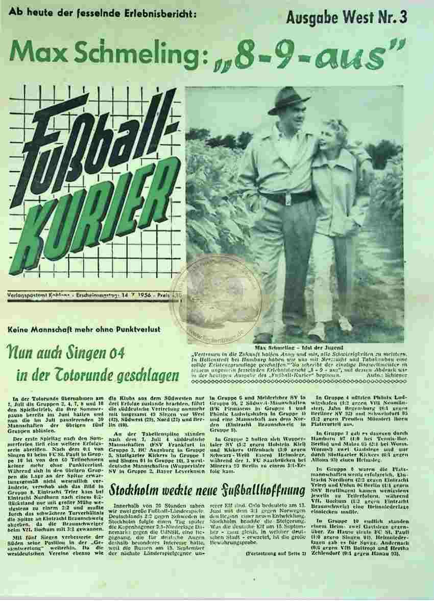 1956 Juli 14. Fußballkurier Nr.3