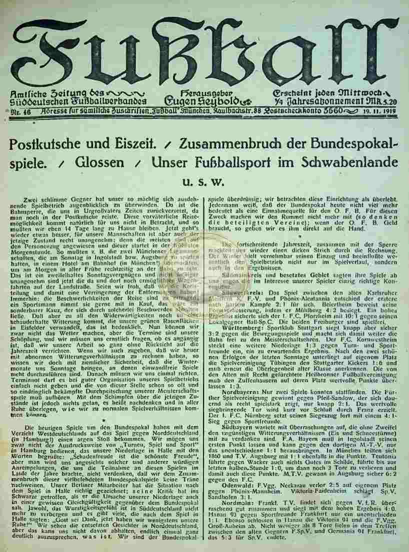 1919 November 19. Fußball Nr.46