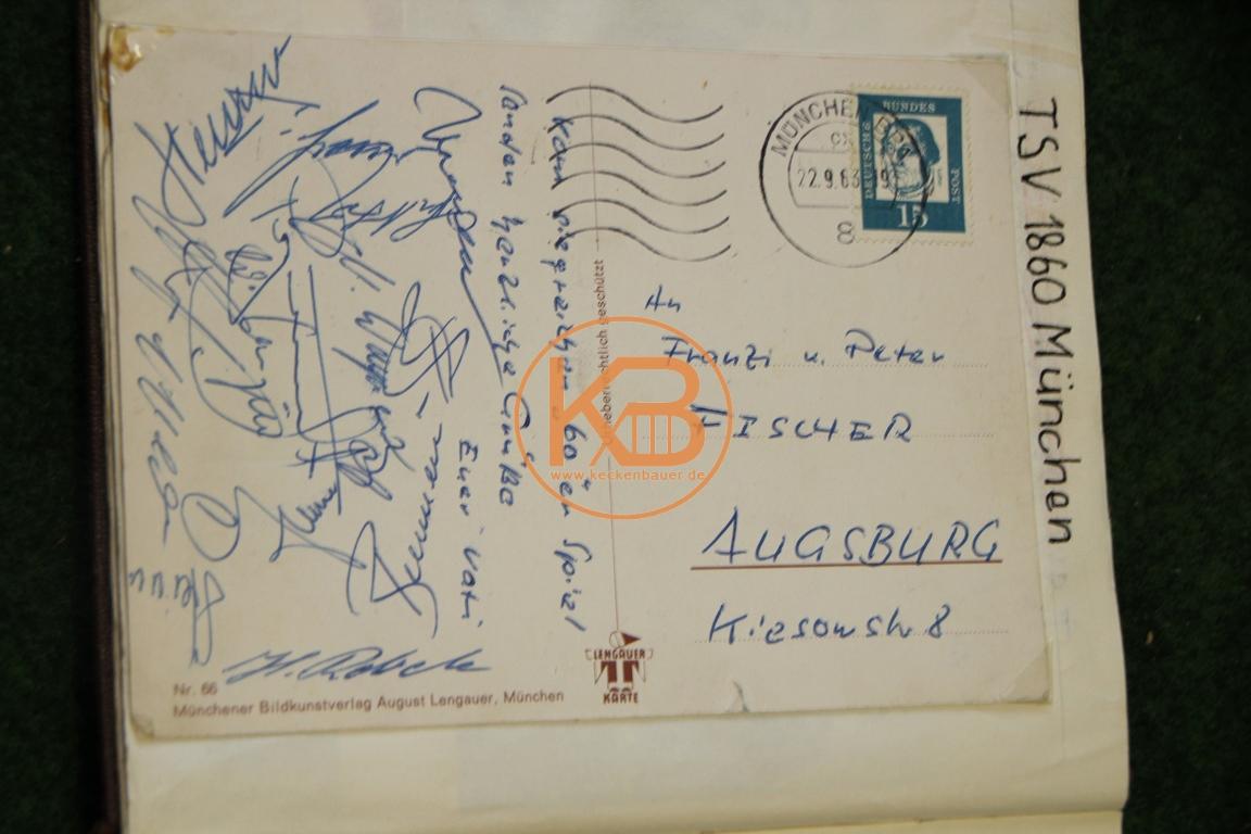 Postkarte mit den original Autogrammen von 1860 München 1963
