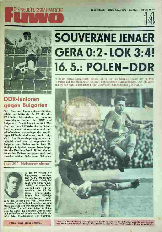 1970 April 7. Die neue Fussballwoche fuwo Nr. 14