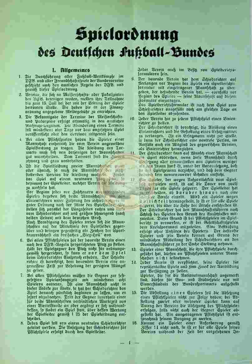 1934 Spielordnung des DFB