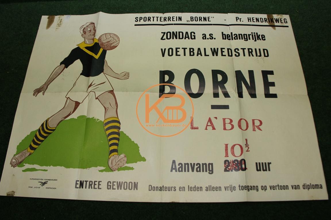 Spielankündigungsplakat aus den 1960ern. Van Borne gegen Labor Niederlanden.