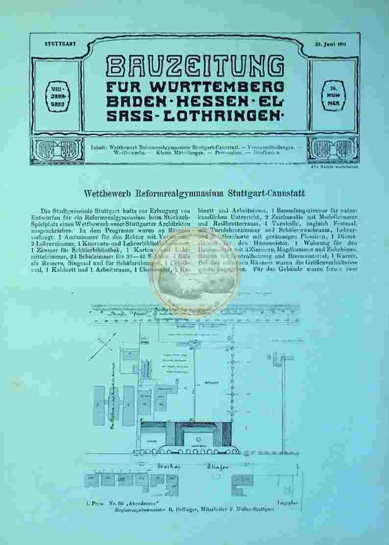 1911 Juni 30. Bauzeichnung für Württemberg Baden Hessen Elsass-Lothringen Nr. 26