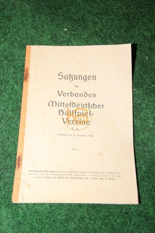 Satzungen des Verbandes Mitteldeutscher Ballspiel Vereine aus dem jahr 1921.