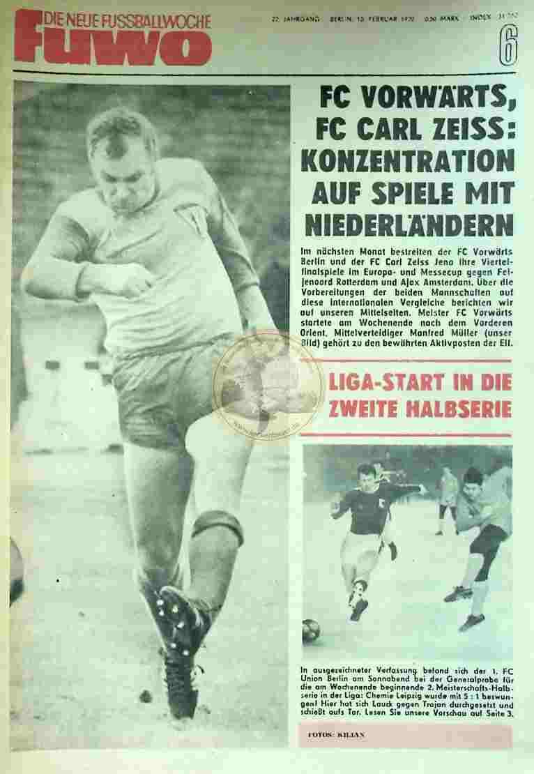 1970 Februar 10.. Die neue Fussballwoche fuwo Nr. 6