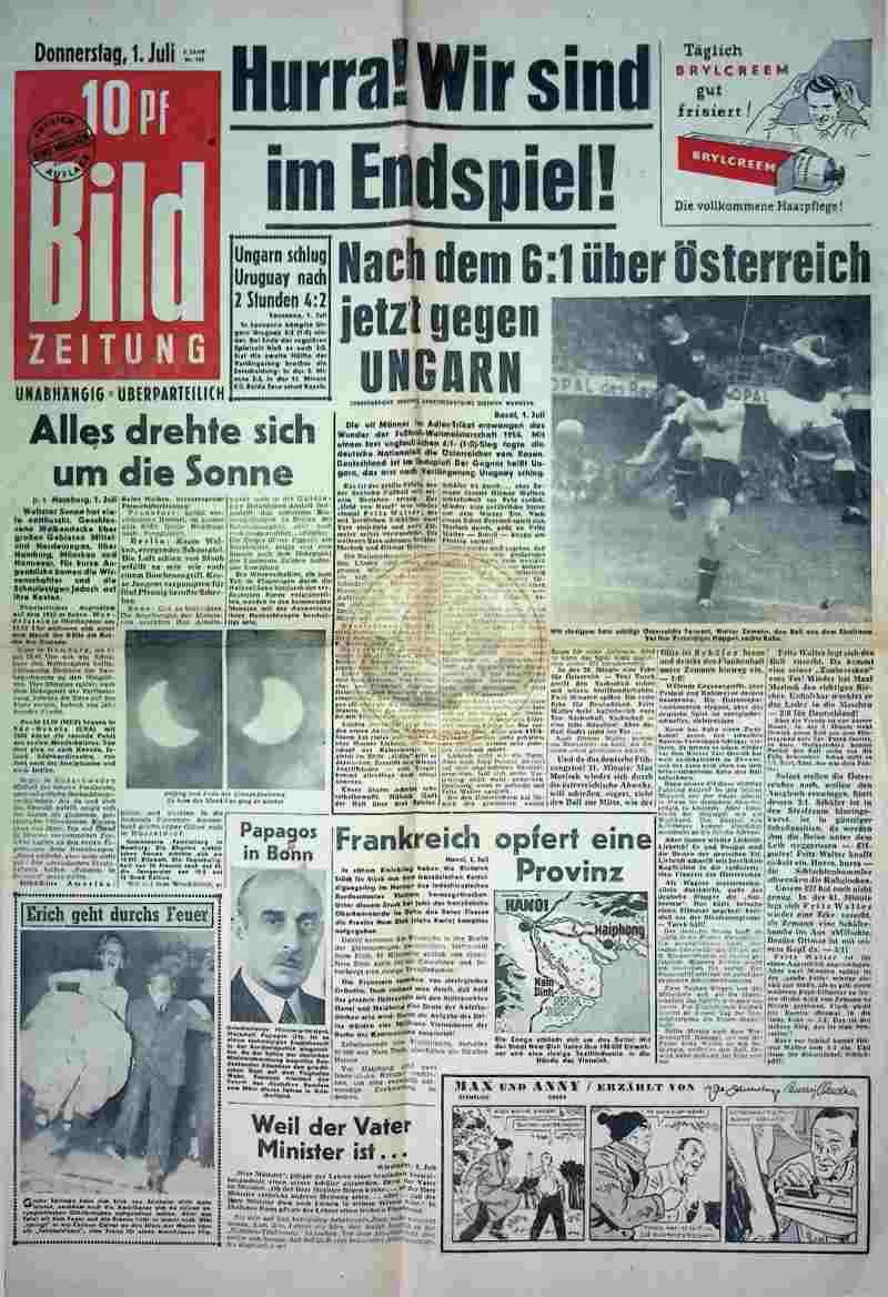 1954 Juli 1. Bildzeitung Seite 1 + 2