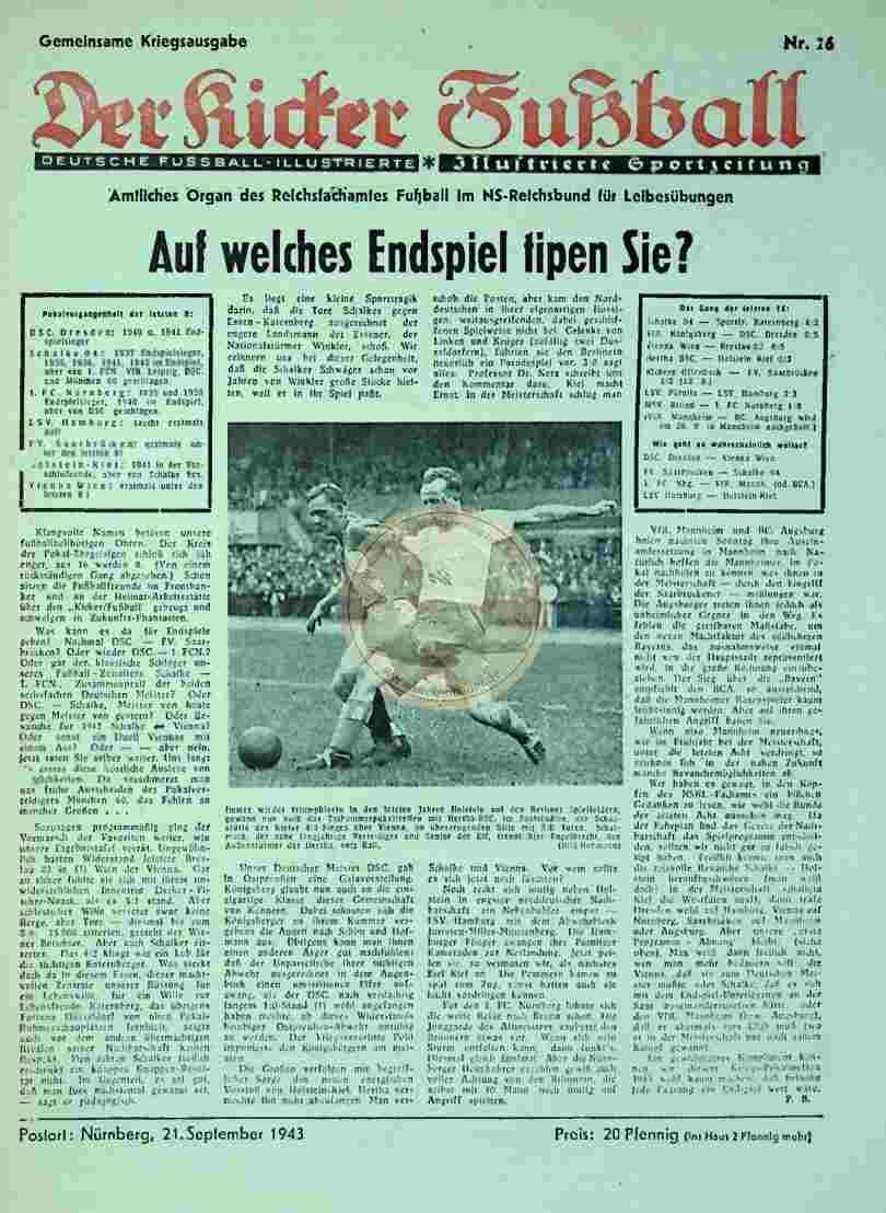 1943 September 21. Gemeinsame Kriegsausgabe Der Kicker Fußball Nr. 26