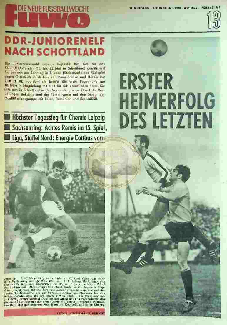 1970 März 31. Die neue Fussballwoche fuwo Nr. 13
