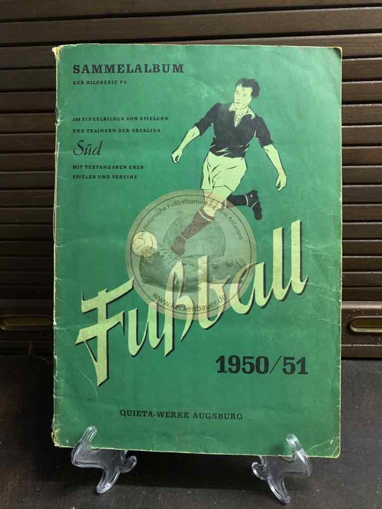 Sammelalbum von Trainern und Spielern der Oberliga Süd aus der Saison 1951/52 von den Quieta Werken Augsburg
