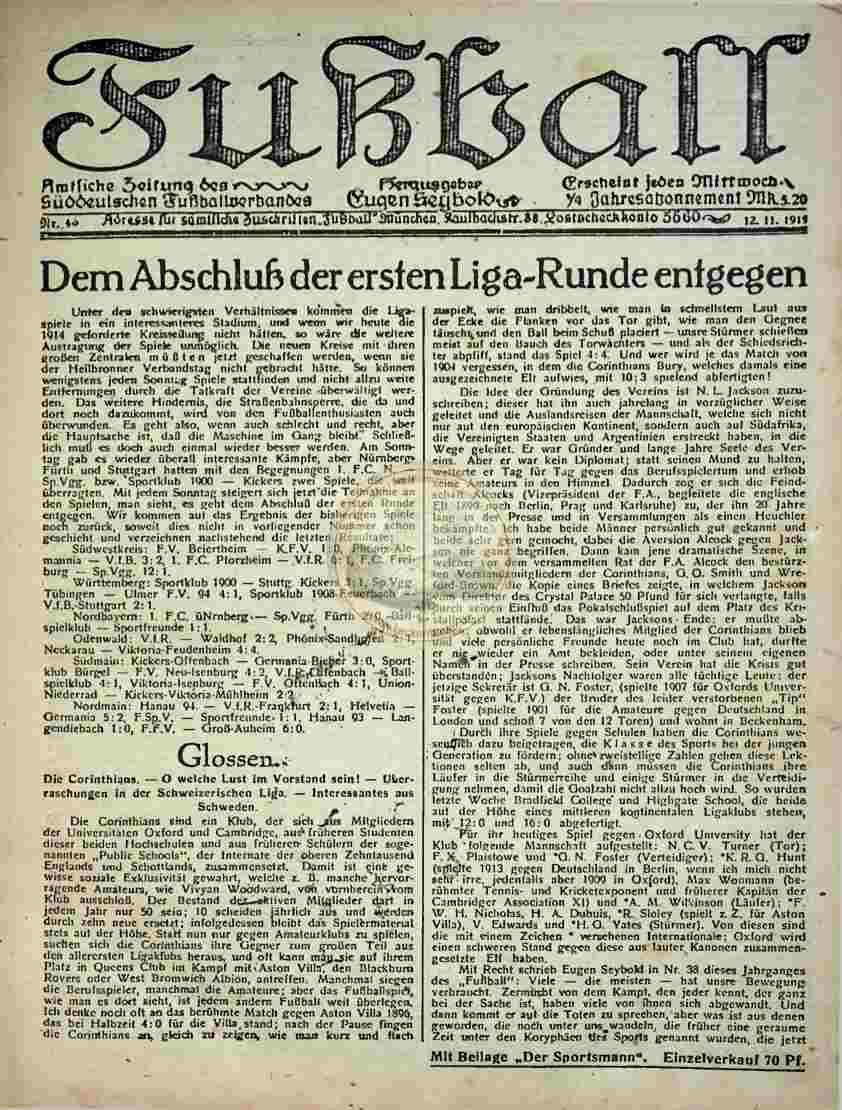 1919 November 12. Fußball Nr.45