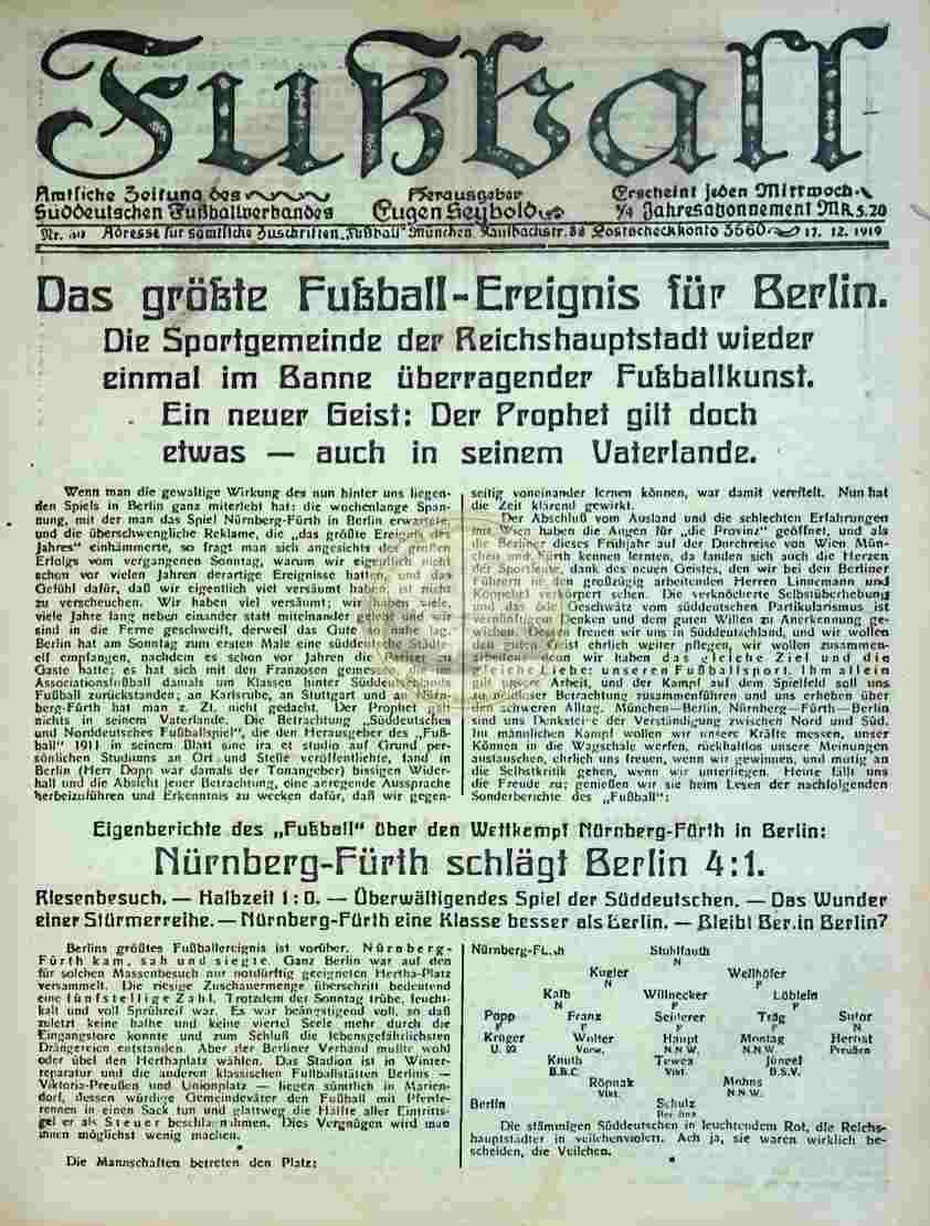 1919 Dezember 17. Fußball Nr.50