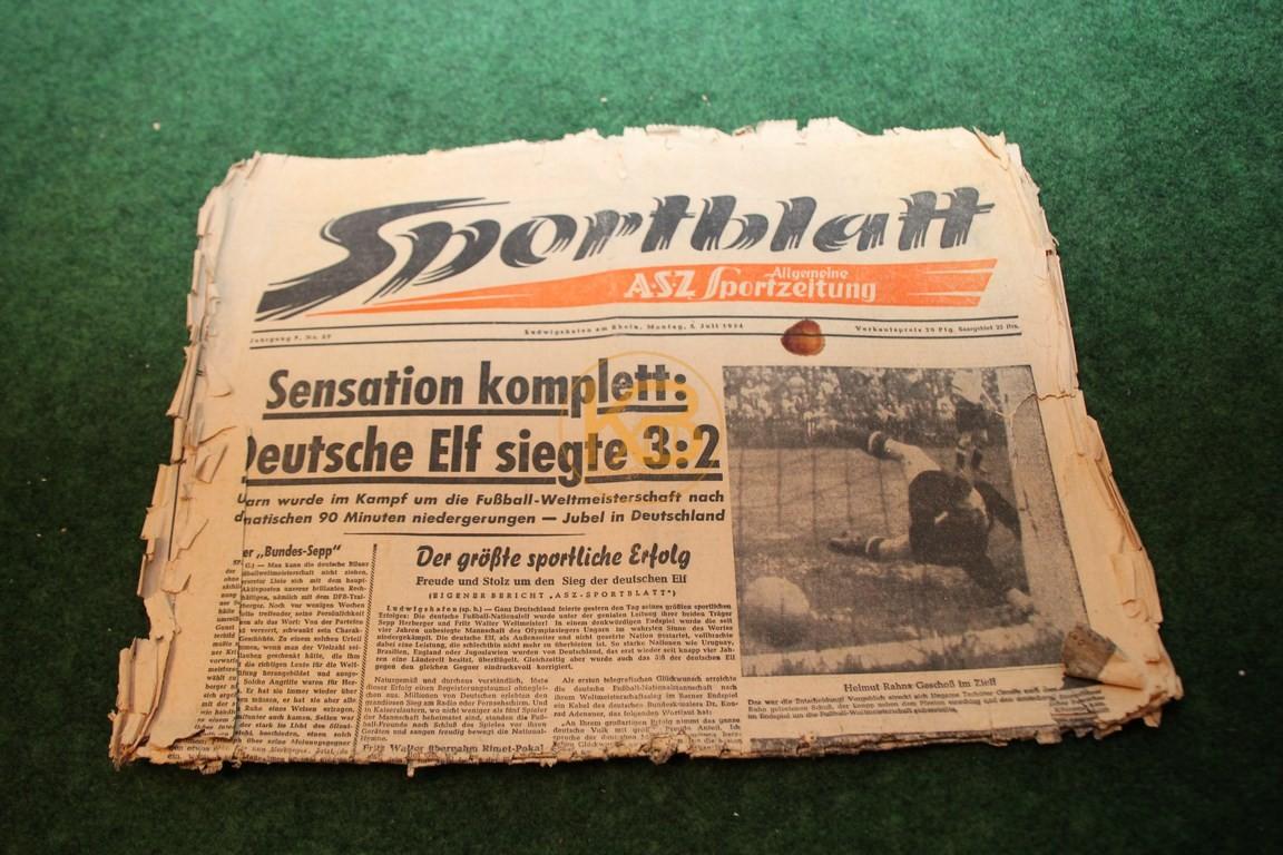 Das Sportblatt vom WM Sieg 1954 Ausgabe vom 05.07.1954, leider in einem sehr schlechten Zustand.