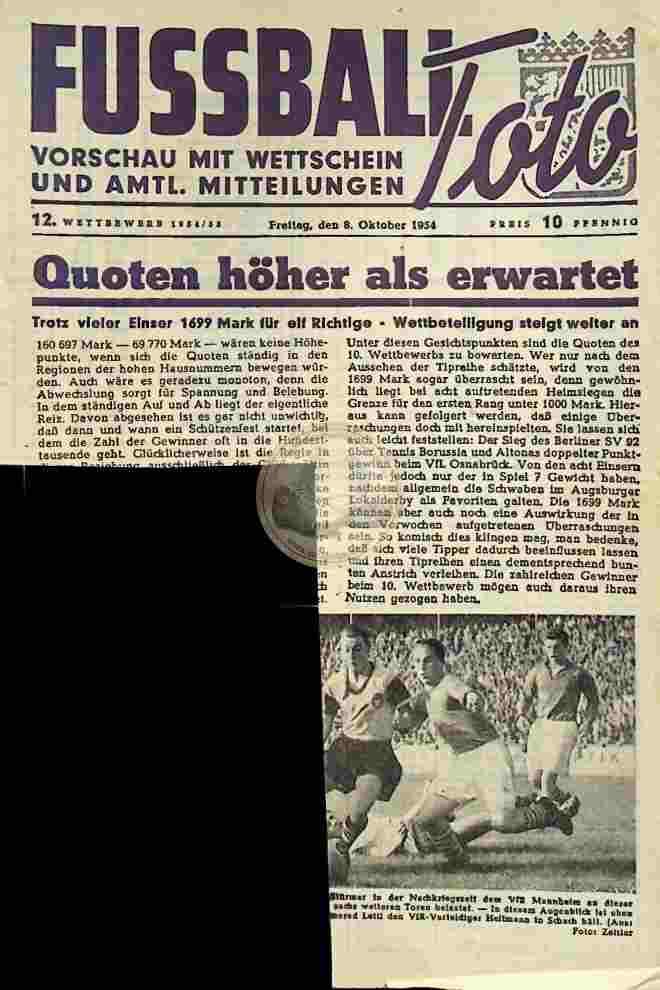 1954 Oktober 08. Fussball Toto