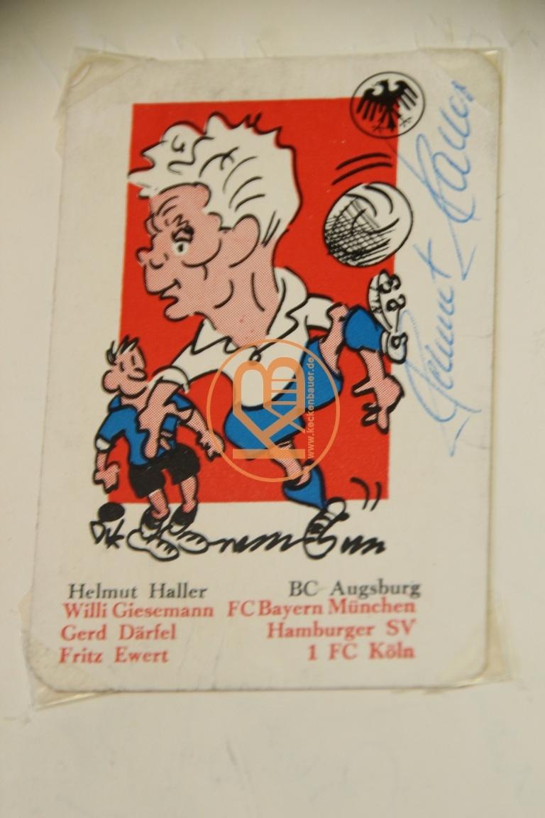 Karikatur von Helmut Haller mit dem original Autogramm.