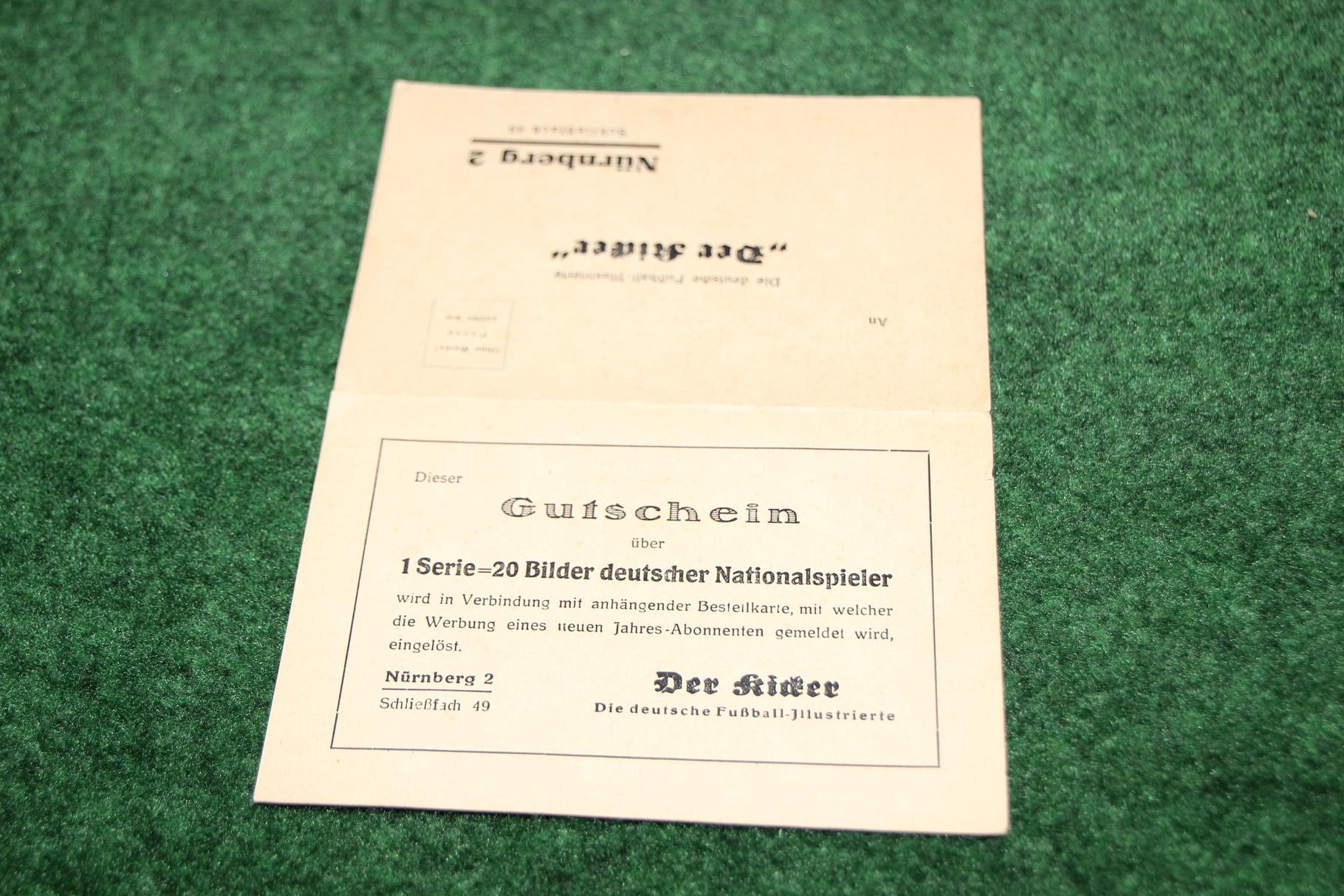 Bestellkarte für den Kicker aus der NS Zeit 1/2