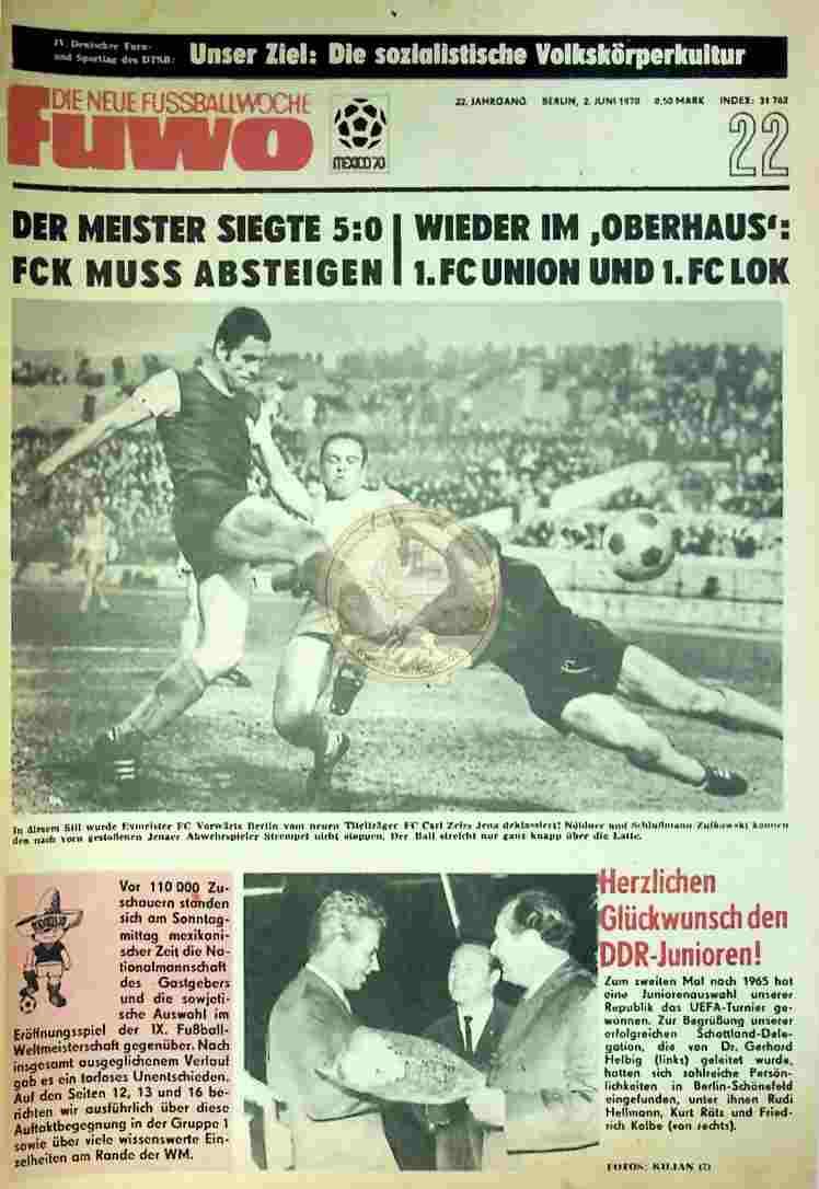 1970 Juni 2. Die neue Fussballwoche fuwo Nr. 22