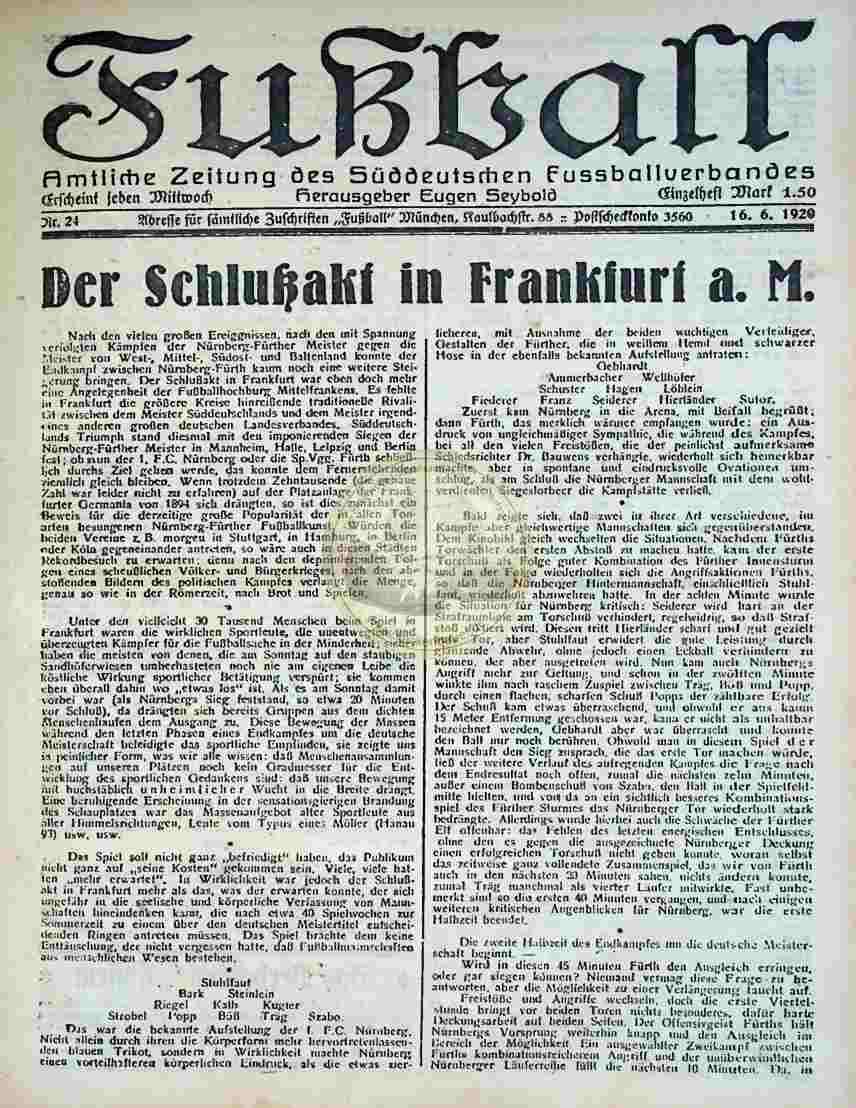1920 Juni 16. Fußball Nr.24