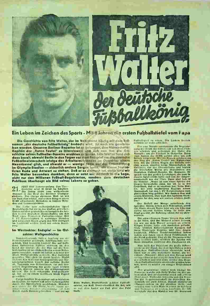 1953 Fritz Walter der deutsche Fußballkönig