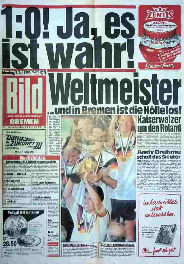 1990 Juli 9. Bildzeitung Bremen