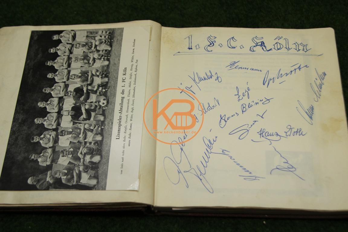 Postkarte vom 1.FC Köln mit den original Autogrammen aus dem Jahr 1964
