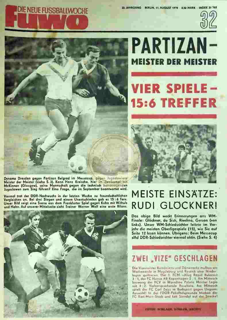1970 August 11. Die neue Fussballwoche fuwo Nr. 32