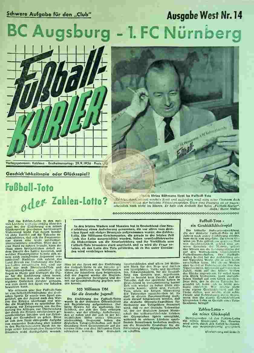 1956 September 29. Fußballkurier Nr. 14