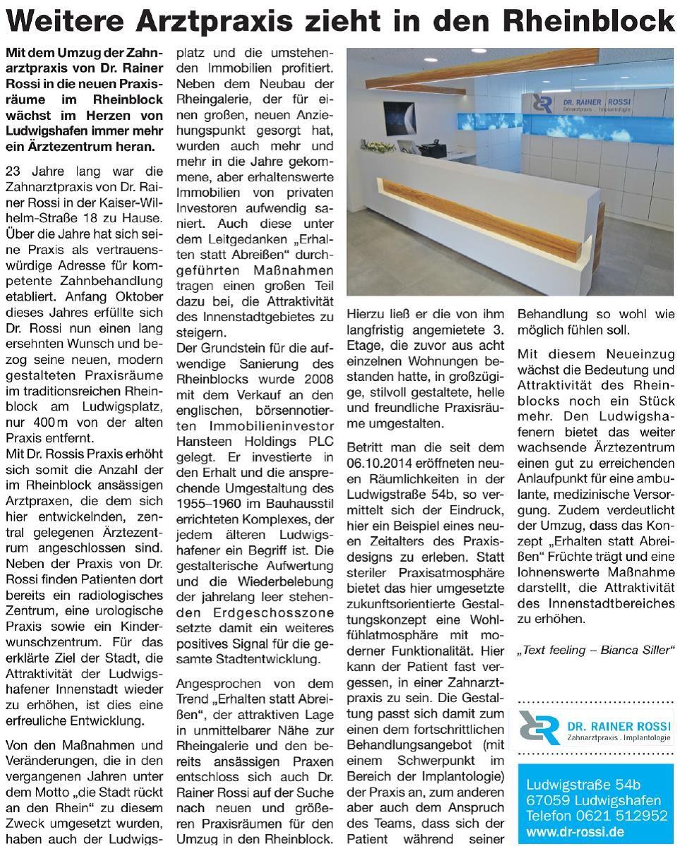 Pressetext zur Eröffnung der neuen Praxisräume