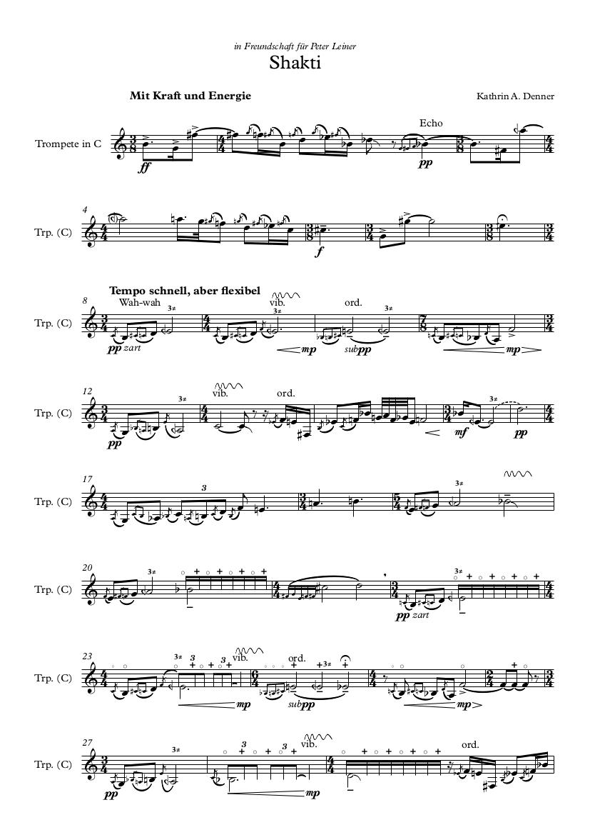 Kathrin A. Denner, Shakti, Trompete in C, Partiturseite 1