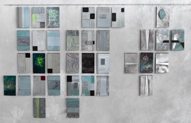 """Lilo Maisch - """"Offen-Endig"""" Spur - Faden, Metall, Acryl, Sand, 200x300 cm (Orgelfabrik) Inszenierung in Raum und Zeit; Foto ©ONUK"""