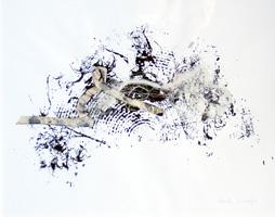 Heidi Knapp, Offene Enden..., Tusche, Textil auf Papier, 40x50 cm (Serie von 8 Arbeiten)