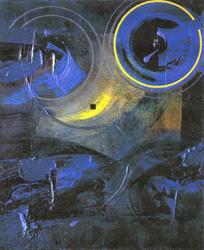 Hannelore Langhans, Dunkles Spiel, 55x46 cm, Acryl auf Leinwand