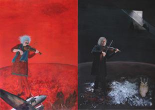 Jutta Hieret, Maria spielt Rot, Maria spielt Schwarz, Diptychon, Mischtechnik/Collage