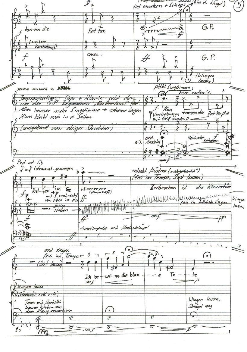 """Ursula Euteneuer-Rohrer """"Mein blaues Klavier"""" für Sopran und Klavier  (2018)  UA Text: Else Lasker-Schüler- Partiturausschnitt experimenteller Mittelteil"""