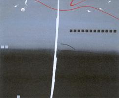 Hannelore Langhans, Fadensonnen über der grauschwarzen Ödnis, 38x46 cm
