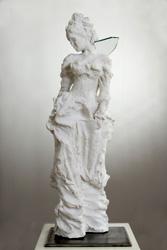 """Petra Weiner-Jansen, Impuls Wolfgang Rihm """"Ich bin die Wunde und das Messer"""" Skulptur, Marmormehl, Glas, montiert auf Eisenplatte (16x16 cm), H ca. 75 cm"""