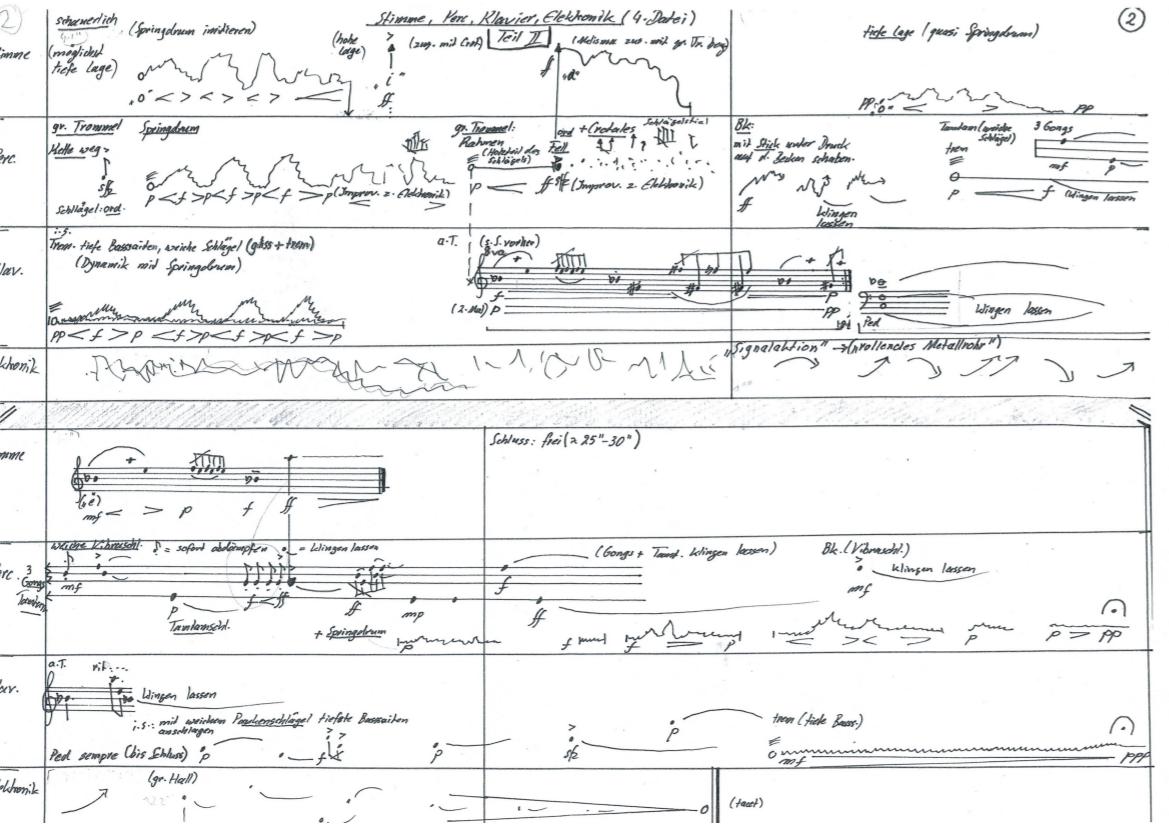 Ursula Euteneuer-Rohrer, Variationen II für Stimme, Klavier, Schlagwerk, Elektronik-Zuspiel, S. 2, UA 2019